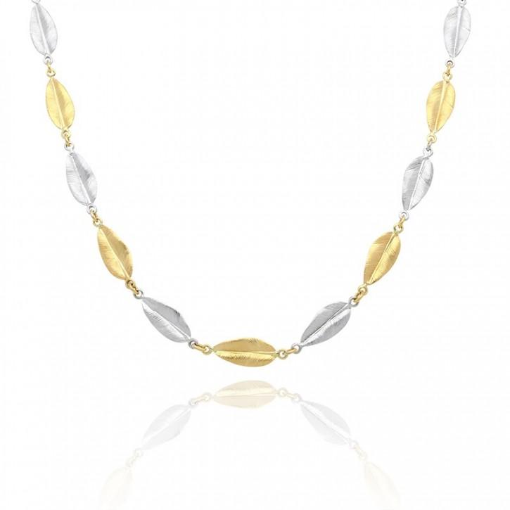 Łańcuszek wykonany z żółtego oraz białego złota.