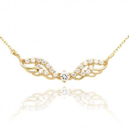Naszyjnik złoty ze skrzydłami wysadzanymi małymi białymi oczkami