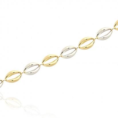 Bransoletka elipsa z białego i żółtego złota.