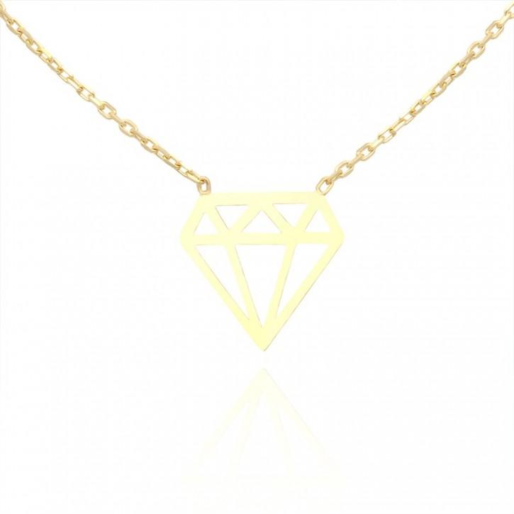 Naszyjnik złoty w kształcie diamentu.