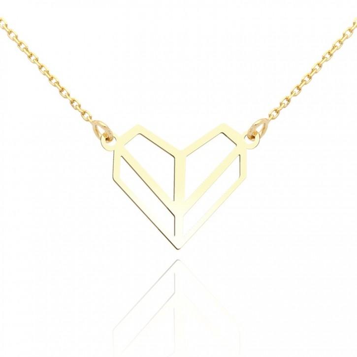 Naszyjnik złoty serduszko z origami.