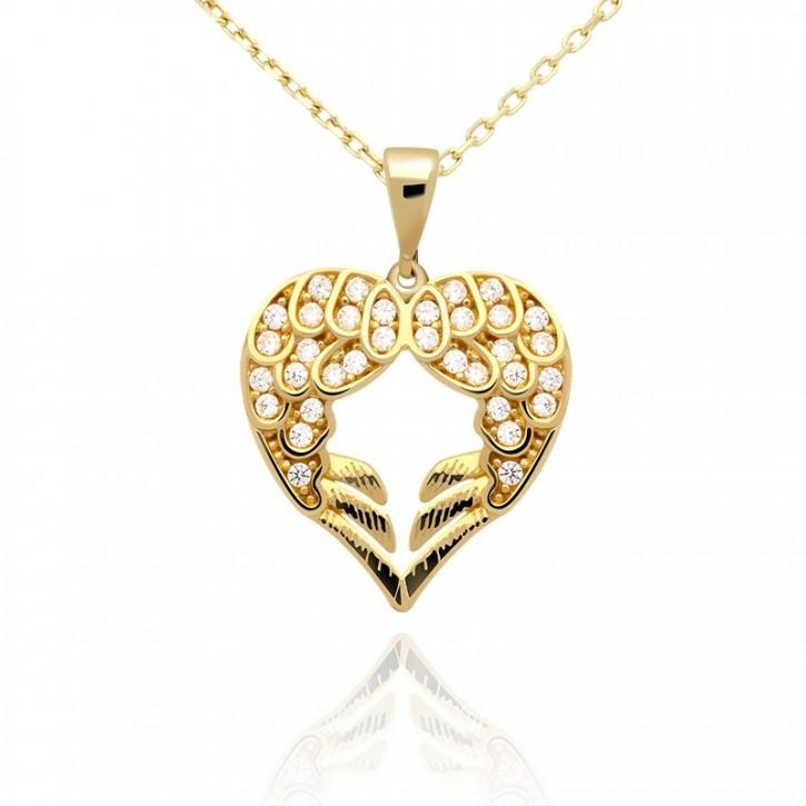 Złota zawieszka anielskie serce.