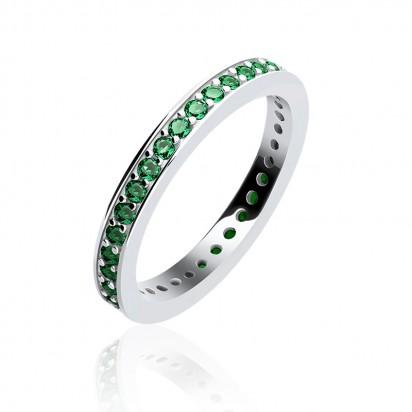 Pierścionek srebrny z zieloną cyrkonią.