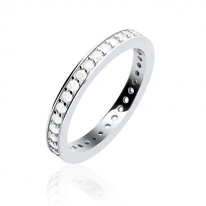 Pierścionek srebrny z białymi cyrkoniami.