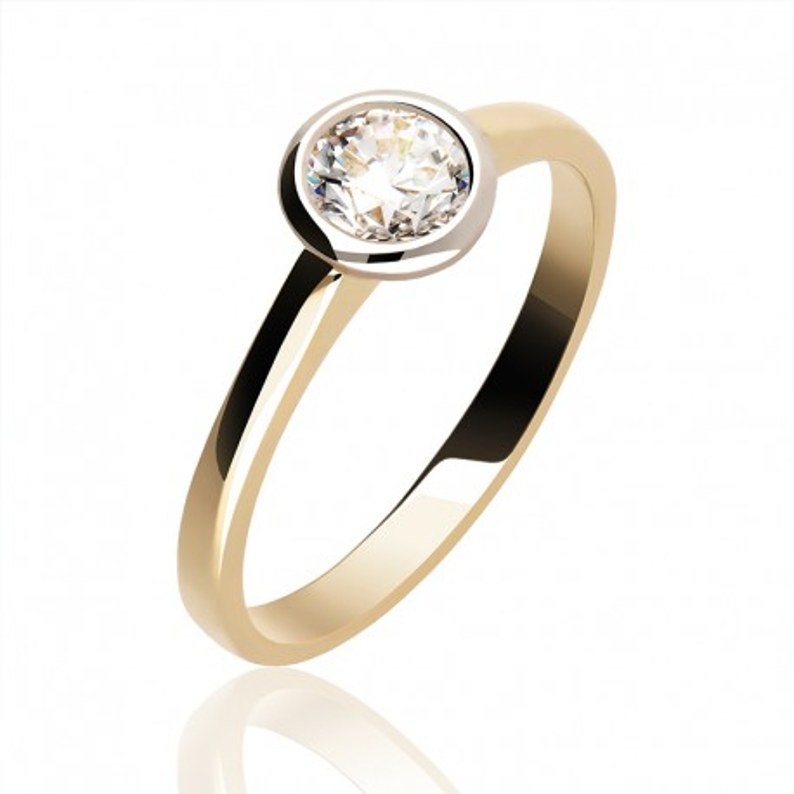 Pierścionek złoty klasyczny z cyrkonią.