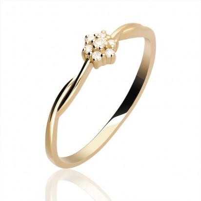 Pierścionek złoty z brylantową koroną.