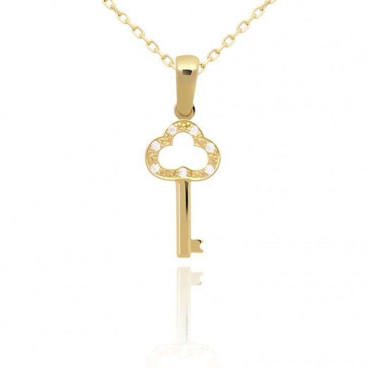 Zawieszka złoty kluczyk z cyrkoniami.