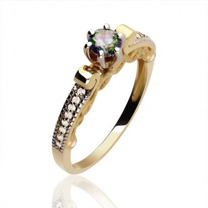 Złoty pierścionek z kolorową cyrkonią.