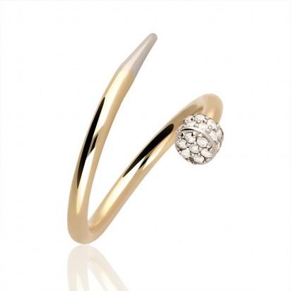 Pierścionek złoty wąż z cyrkonią.