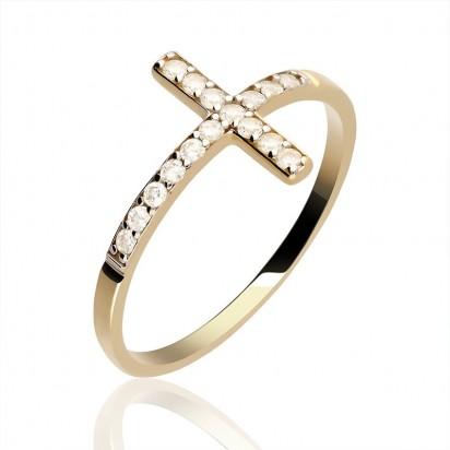 Złoty pierścionek krzyżyk.