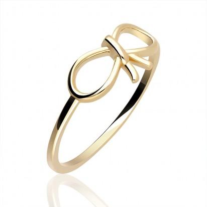 Pierścionek złoty kokardka.