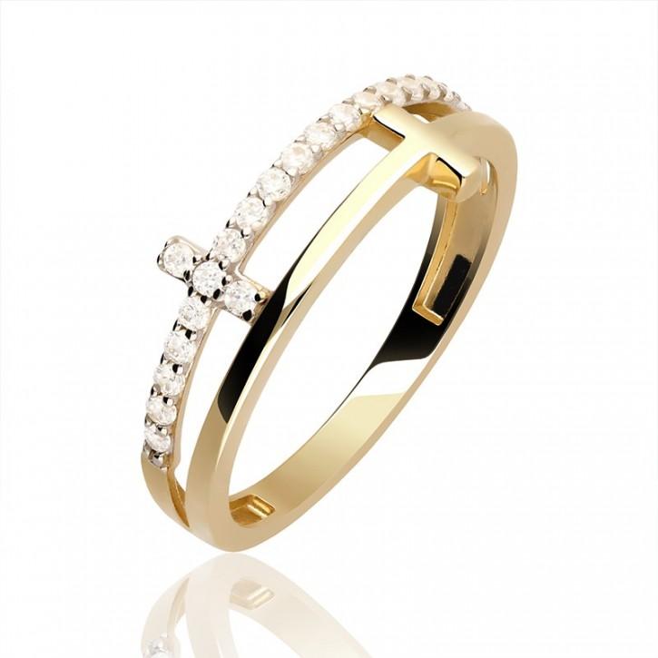 Pierścionek złoty obrączka z krzyżami.