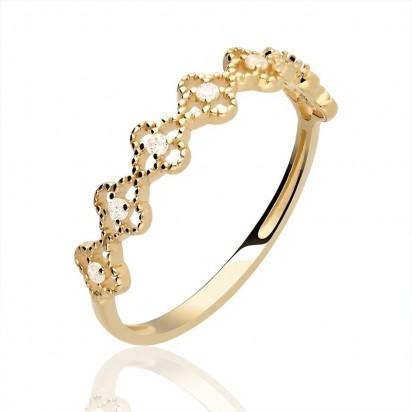 Pierścionek złoty w nowoczesnym stylu z cyrkoniami.