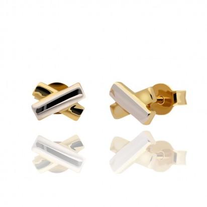 Kolczyki złote w dwóch barwach.