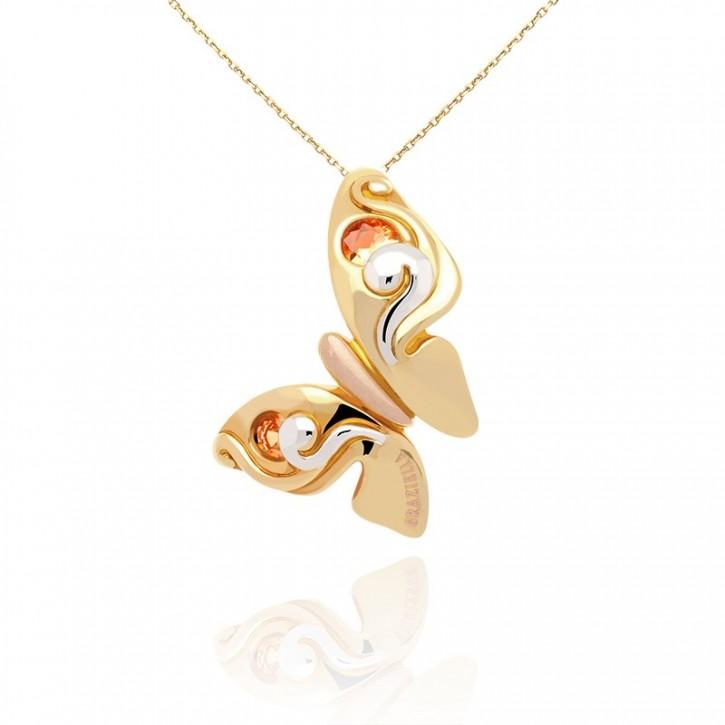 Złota zawieszka motyl w dwóch barach złota.