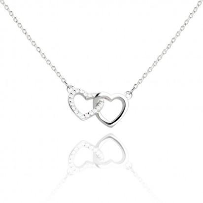 Naszyjnik srebrny dwa serca.