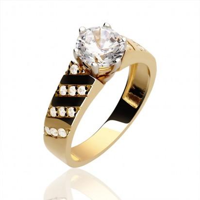 Pierścionek złoty z cyrkonią.
