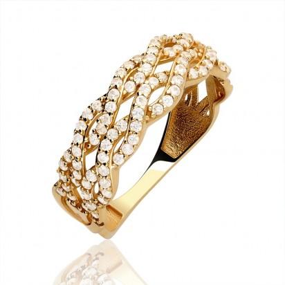 Pierścionek złoty plecionka z cyrkoniami.