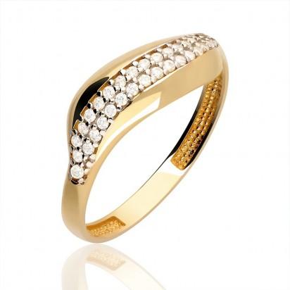 Pierścionek złoty ślimak z cyrkoniamii.
