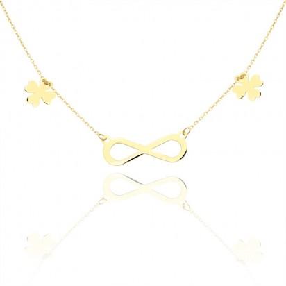 Celebrytka złota znak nieskończoności z koniczynkami.