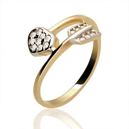 Pierścionek złoty strzała amora.