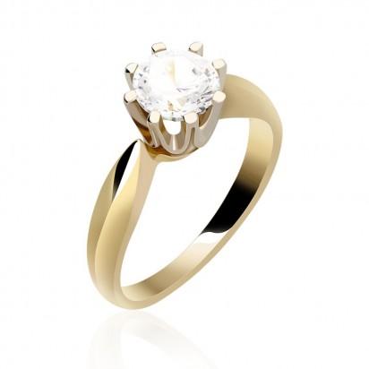 Pierścionek złoty z białą cyrkonią.