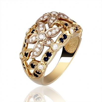 Pierścionek złoty z szafirem oraz cyrkoniamii.