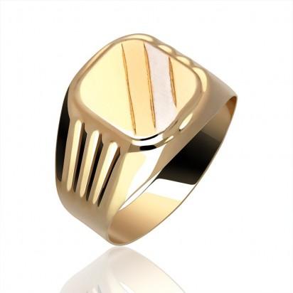 Złoty sygnet w dwóch barwach złota.
