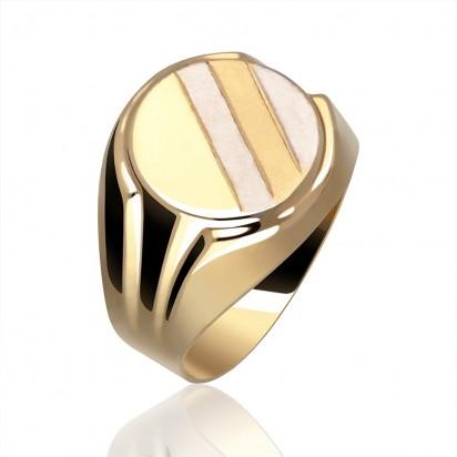Złoty okrągły sygnet.