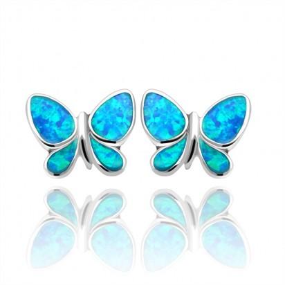 Kolczyki srebrne motylki z niebieską emalią.