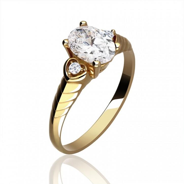 Imponujący złoty pierścionek z cyrkonią.