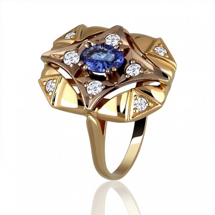Pierścionek złoty z tanzanitem.