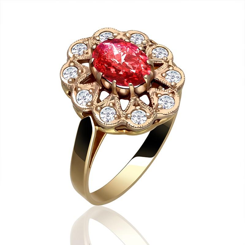 97915ff5774d Złoty pierścionek z okrągłym czerwonym rubinem i białymi cyrkoniami.  Loading zoom