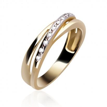 Przeplatany złoty pierścionek