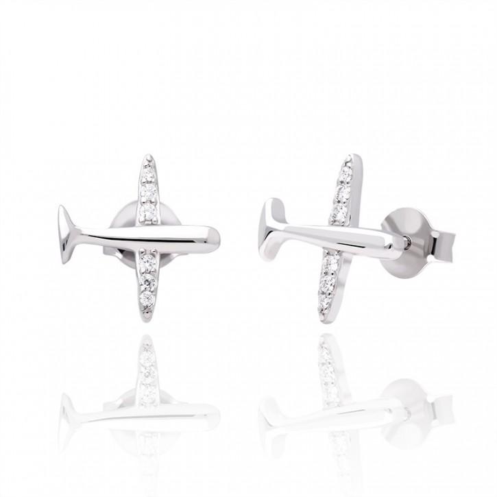 Kolczyki srebrne samolot