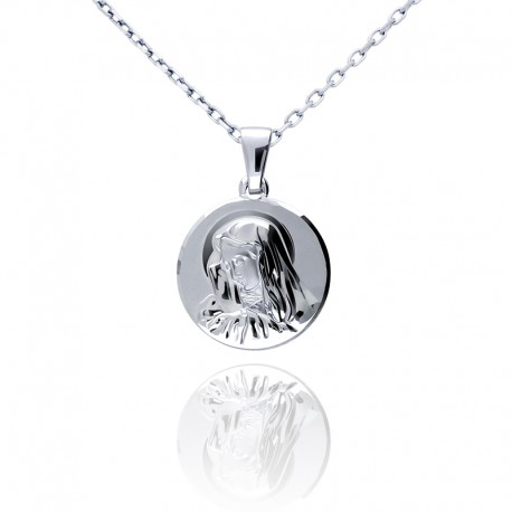 Srebrny medalik z Matką Boską
