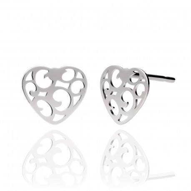 Kolczyki srebrne ażurowe serca