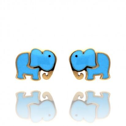 Kolczyki złote niebieskie słoniki