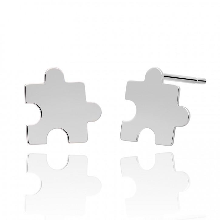 Kolczyki srebrne puzzle