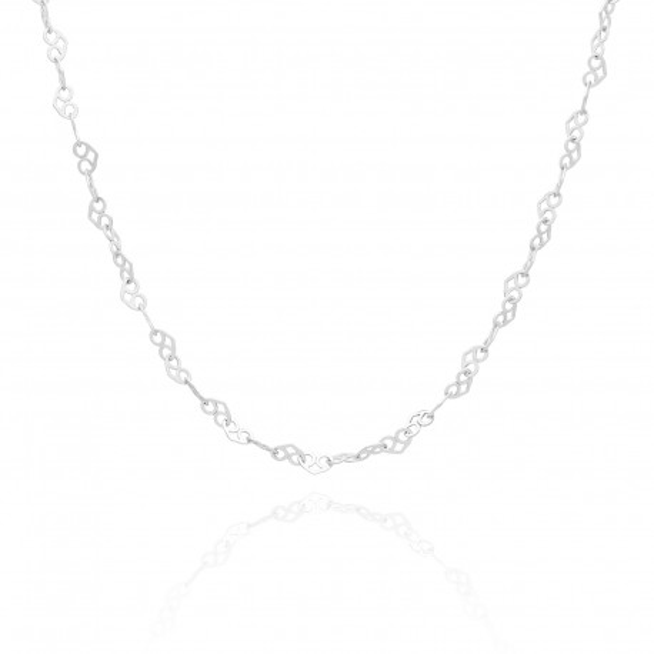 Łańcuszek Srebrny wykonany ze splotu małych serc