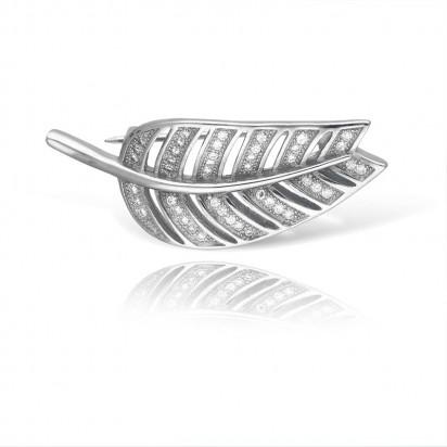 Srebrna Broszka w kształcie liścia wysadzana białymi cyrkoniami