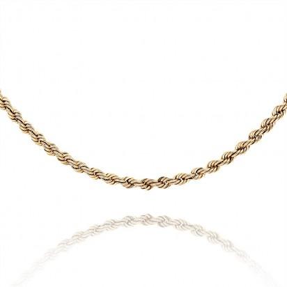 Łańcuszek złoty w splocie typu kordel.