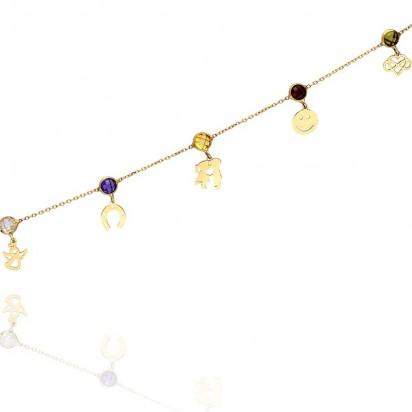 Bransoletka złota z kolorowymi elementami