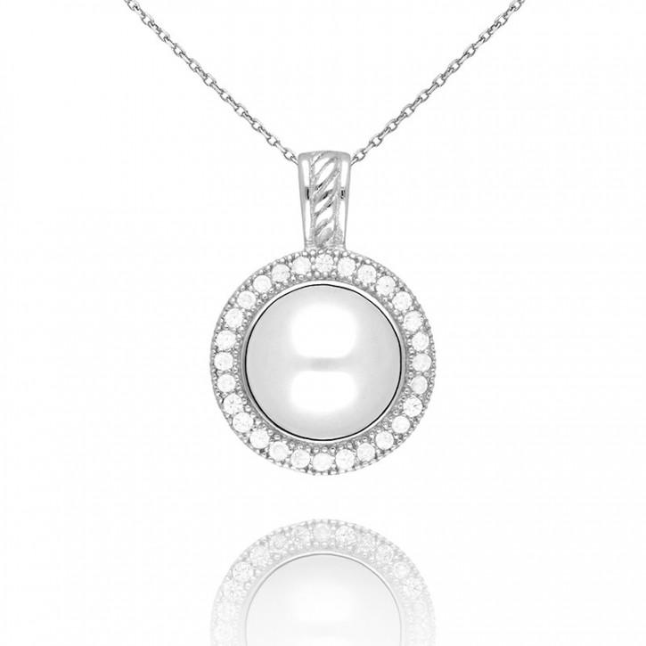 Srebrna Zawieszka z białą masą perłową oraz małymi białymi cyrkoniami