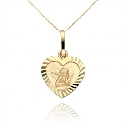 Złoty wisiorek w kształcie serca z amorem