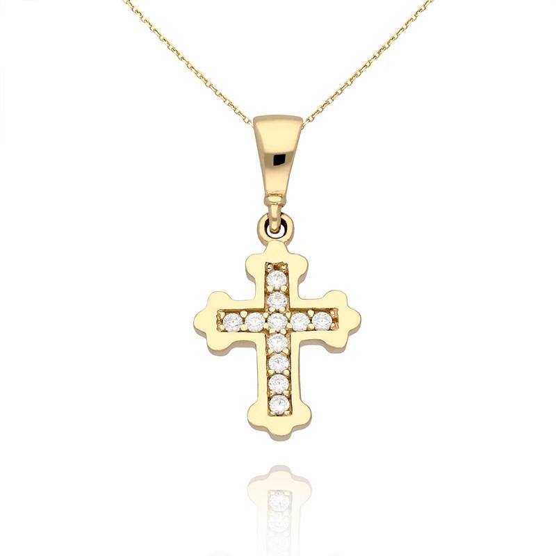 c68b1b4855b3b3 Złota zawieszka krzyż z cyrkoniami. Loading zoom