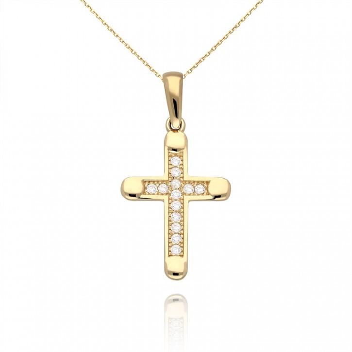 Złota zawieszka krzyż.