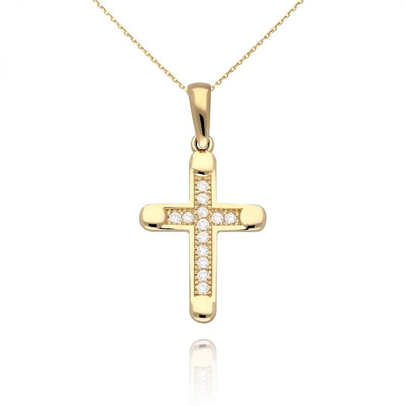 e43616e13eddd0 Złota zawieszka krzyż wysadzany cyrkoniami - Gold4U