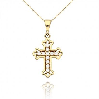 Złota zawieszka krzyż falowany