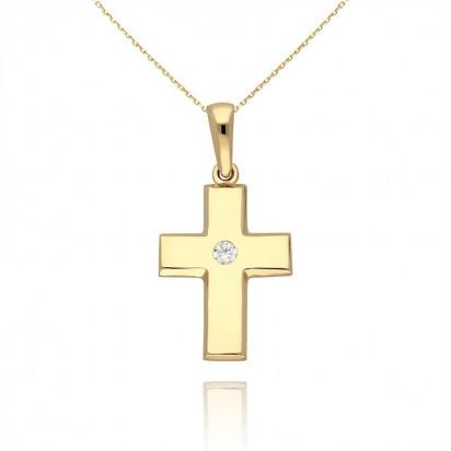 Zawieszka złota krzyż z cyrkonią